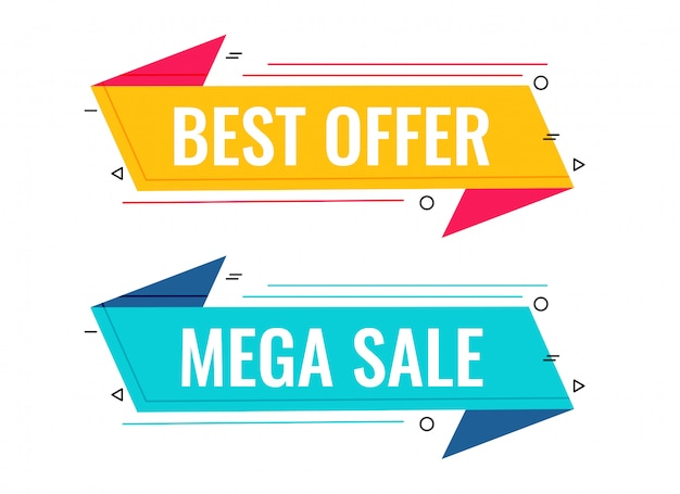 Best sale and offer memphis banner set Free Vector