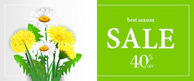 Best season sale, forty percent off banner with dandelions and chamomiles Free Vector