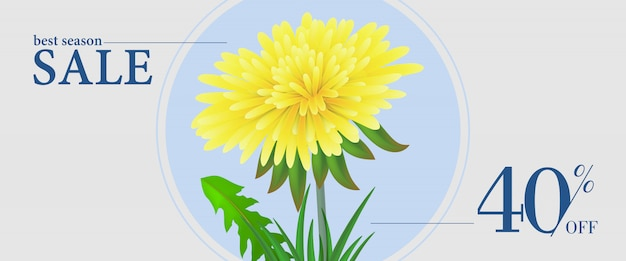 Best season sale, forty percent off banner with\ yellow flower dandelion in round frame