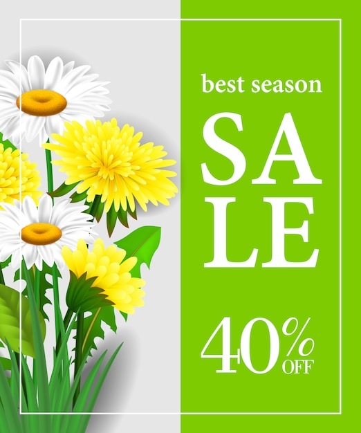 Best season sale forty percent off poster\ template with white and yellow flowers