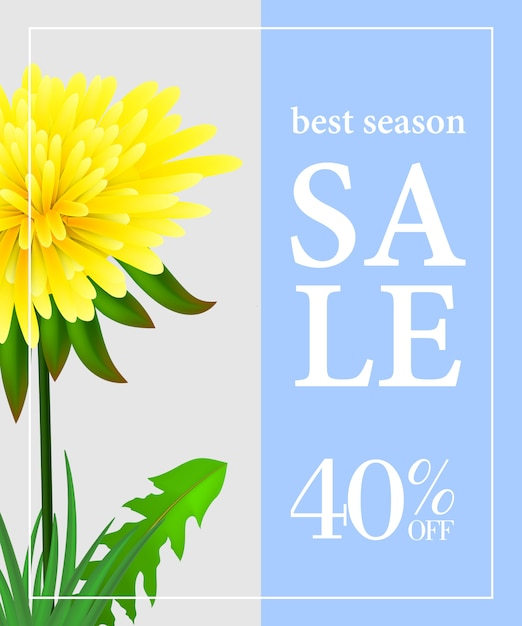 Best season sale forty percent off poster with dandelion on light blue and grey background Free Vector