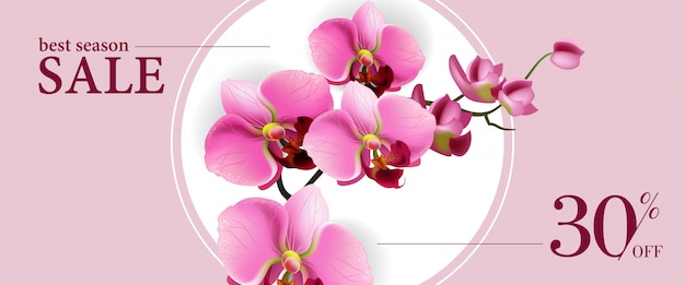 Best season sale, thirty percent off horizontal\ banner with pink flowers in white circle.