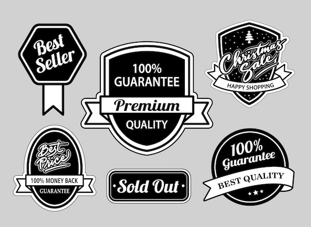 Best seller and christmas sale badges black and white good Premium Vector