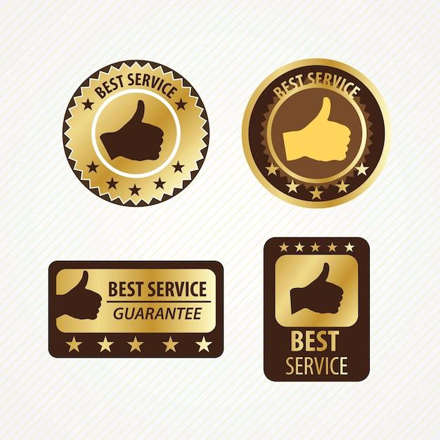 Best service labels set golden and brown colors Premium Vector