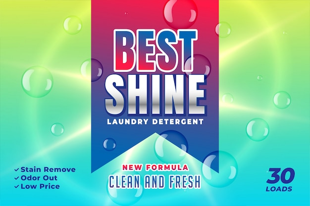 Best shine detergent packaging design Free Vector
