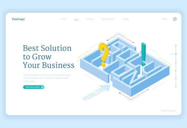 Лучшие решения для бизнеса: изометрическая целевая страница с лабиринтом и вопросительными или восклицательными знаками внутри, задача лабиринта, стратегия достижения цели, решение профессиональных задач, 3d веб-баннер Бесплатные векторы