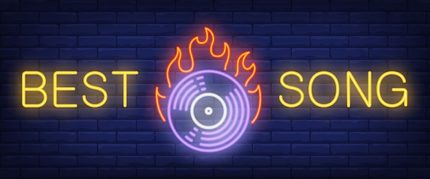 Best song neon text with cd disc on fire Free Vector