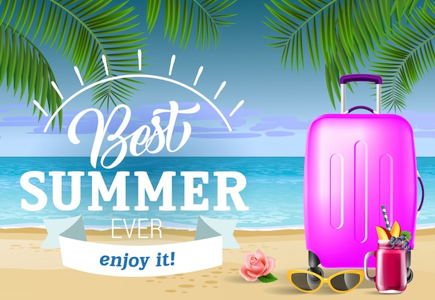 Best summer ever lettering with sea beach and suitcase. summer offer Free Vector