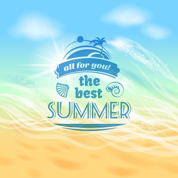 The best summer ever tropical holiday vacation background advertisement poster Free Vector