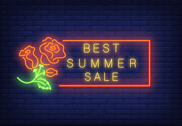 Best summer sale neon text in frame and roses.\ Seasonal offer or sale advertisement