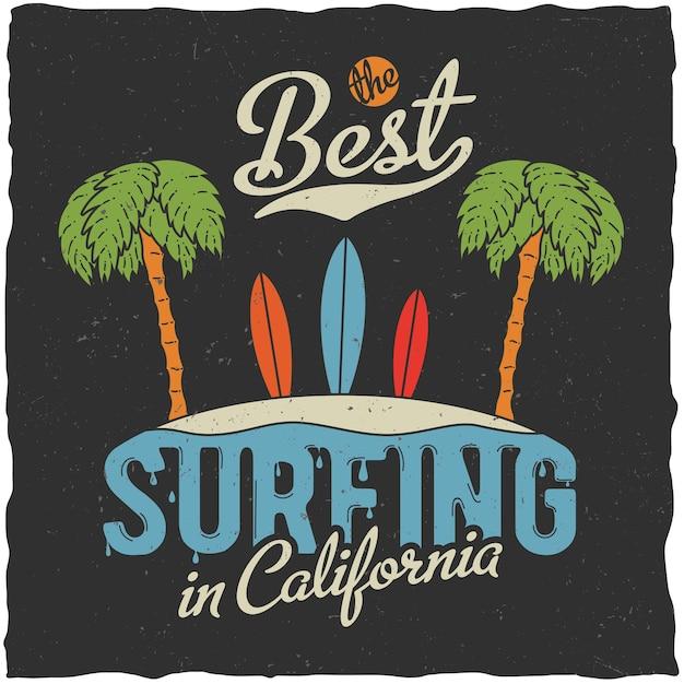 手のひらとビーチのイラストがカリフォルニアのポスターで最高のサーフィン 無料ベクター