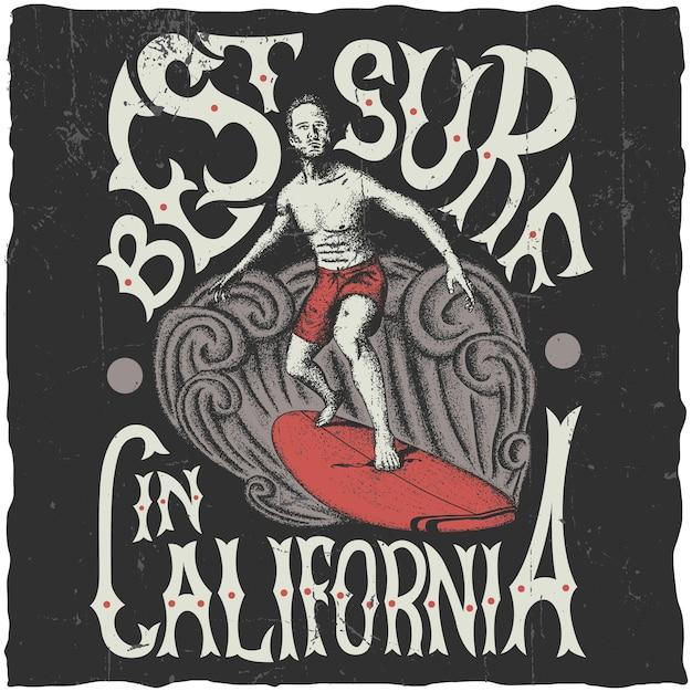 ボードイラストのサーファーとカリフォルニアポスターで最高のサーフィン 無料ベクター