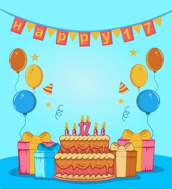 誕生日ケーキ、与える、バルーン、キャンドル、帽子、フラグ、星の飾りで最高の甘い17 Premiumベクター