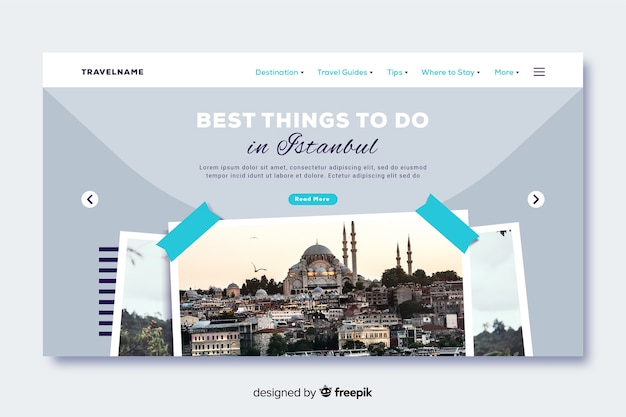 Best things to do travel landing page with photo Free Vector