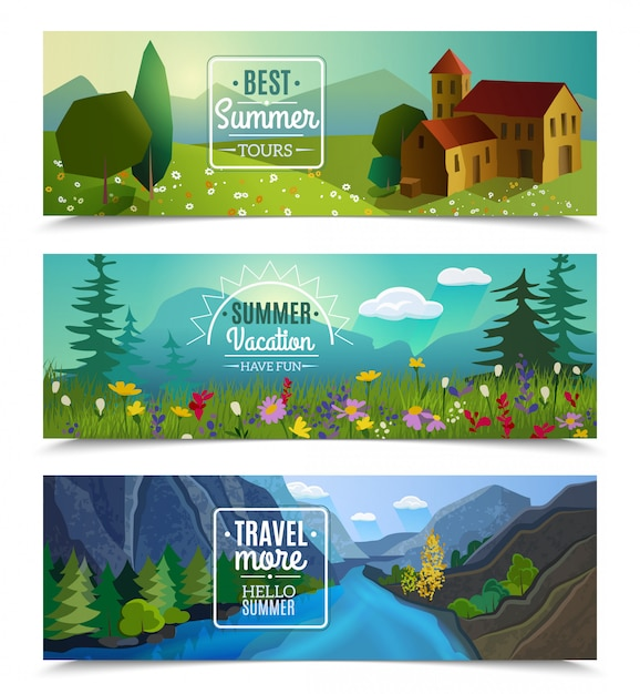 Best tours for summer vacation travel agency advertisement Free Vector