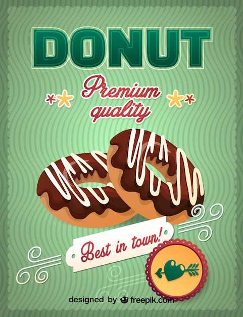 Best in town chocolate donuts sign Free Vector