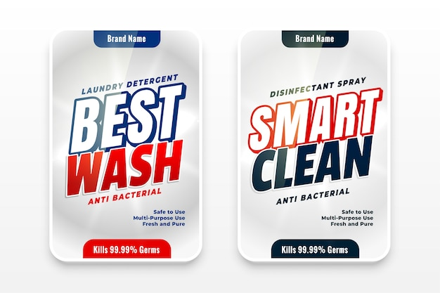 Best wash and smart cleaner detergent labels Free Vector