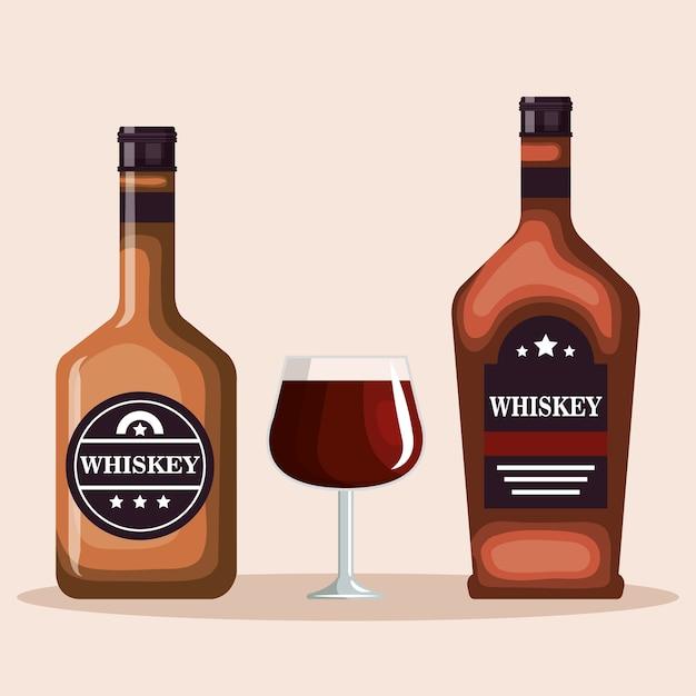 Best Whiskey Bottles And Cups Vector Illustration Design