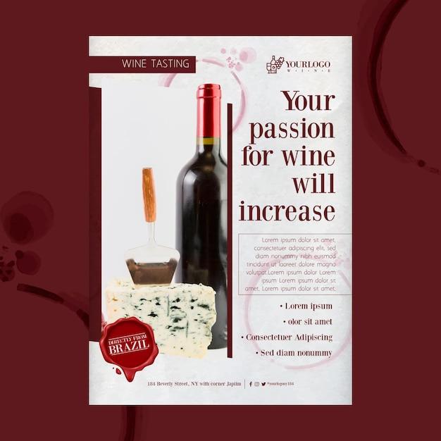 Шаблон флаера для лучшего дегустации вин Бесплатные векторы