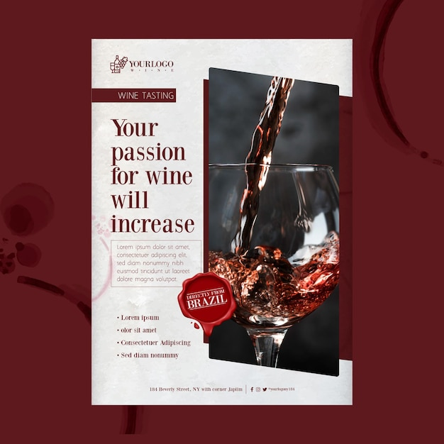Шаблон печати плаката лучшего дегустации вин Premium векторы