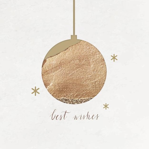 Iscrizione di auguri con pallina d'oro e stelle scintillanti Vettore gratuito