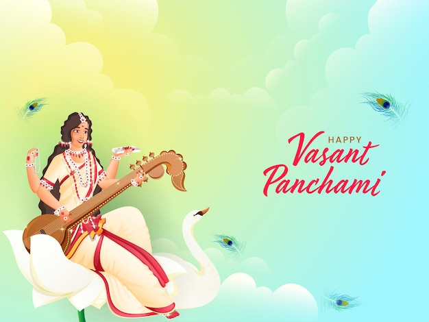 Best wishes of vasant panchami in hindi text with goddess saraswati sculpture, swan bird Premium Vector