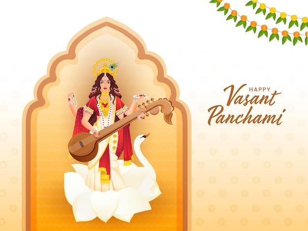 Best wishes of vasant panchami hindi text with goddess saraswati sculpture Premium Vector