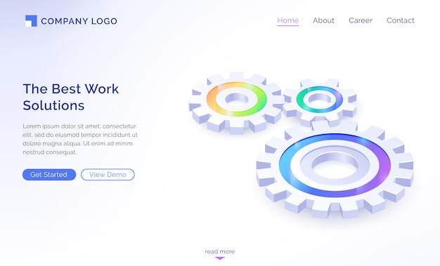 The best work solutions isometric landing page Free Vector