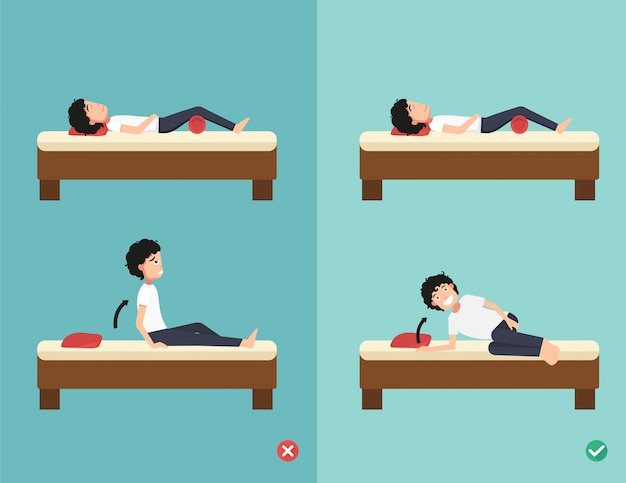 Best and worst positions for wake up Premium Vector