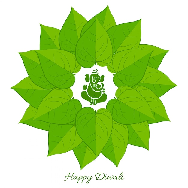 Betel leaf with lord ganesh Free Vector