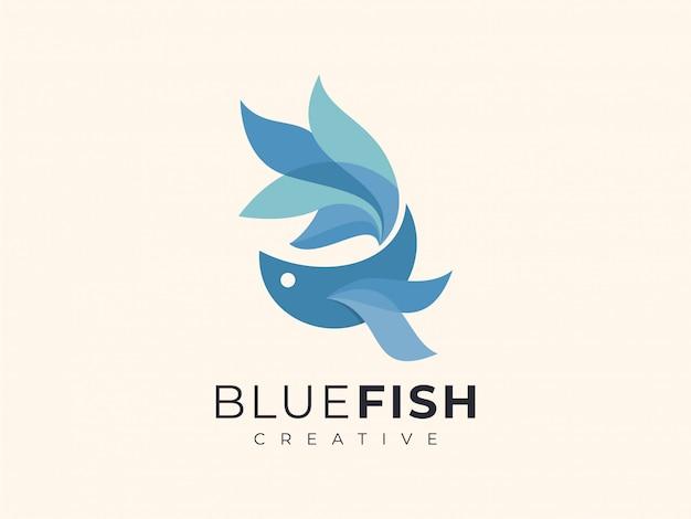 Betta fish gradient blue color unique logo Premium Vector