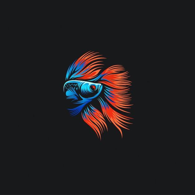 Betta fish logo ilustrations Premium Vector