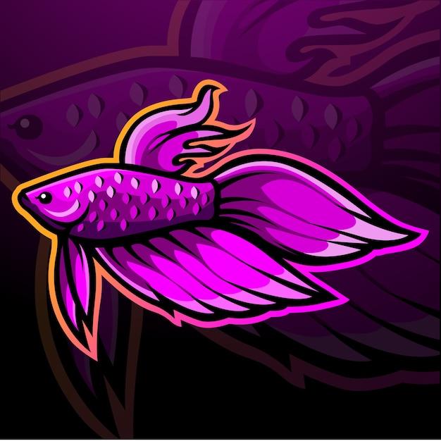 ベタの魚のマスコットeスポーツのロゴデザイン Premiumベクター