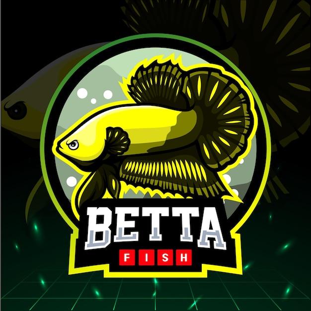 ベタの魚のマスコット。 eスポーツのロゴデザイン。 Premiumベクター