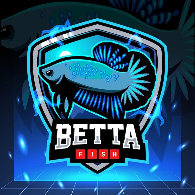 Betta 물고기 마스코트 Esport 로고 디자인 프리미엄 벡터