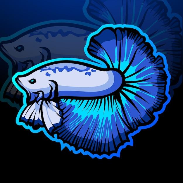 Талисман бойцовой рыбы. киберспорт логотип Premium векторы