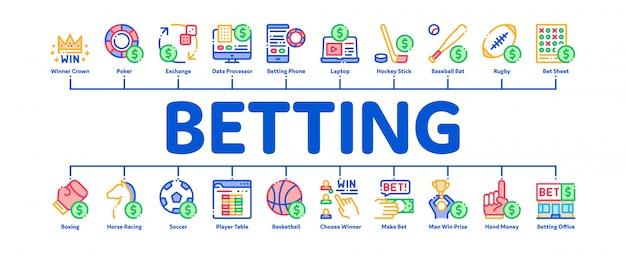 Ставки и азартные игры минимальный инфографический баннер Premium векторы