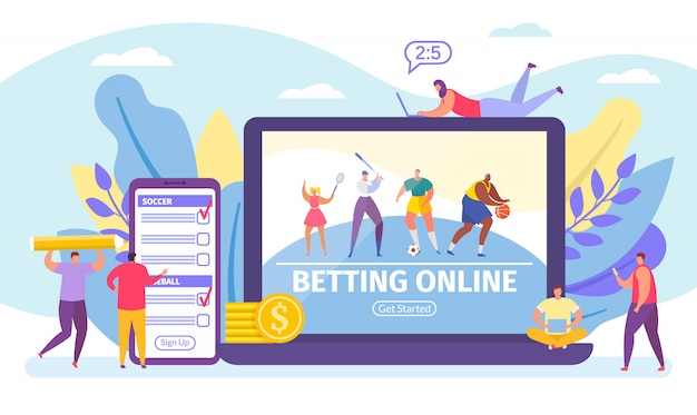 Betting online game, bets on sport banner tiny people cartoon  illustration. Premium Vector