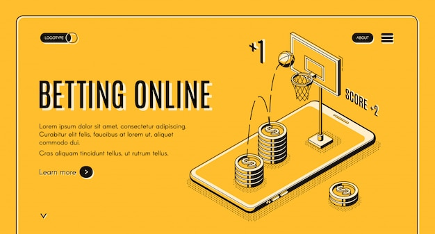Betting on sports online line art website template. Free Vector