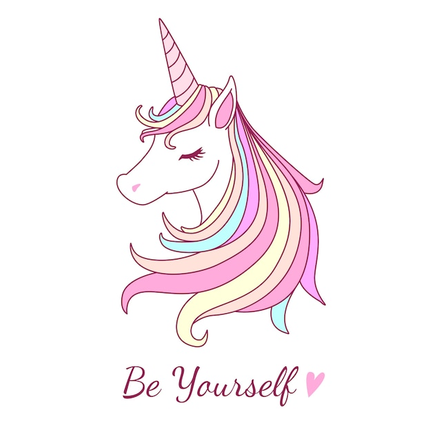 Beutiful unicorn illustration with sweet pastel color tone Vector ...
