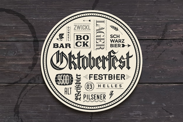 Beverage coaster with lettering for oktoberfest Premium Vector