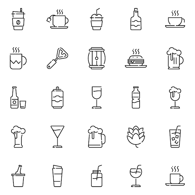 Beverage icon pack, with outline icon style Premium Vector