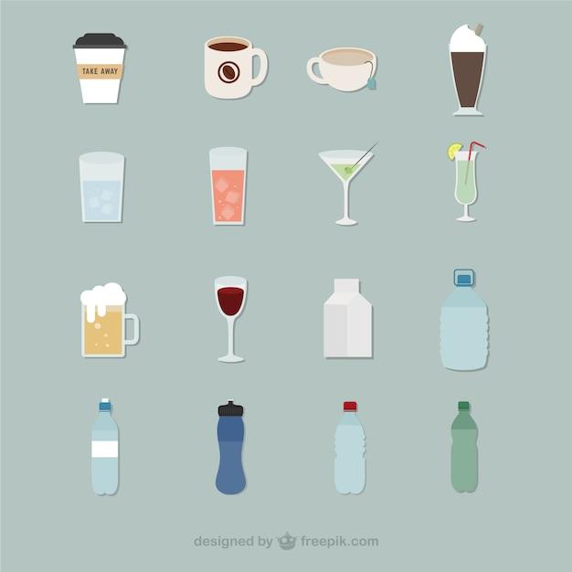 Beverage icons Free Vector