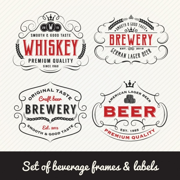 Beverage labels collection Free Vector