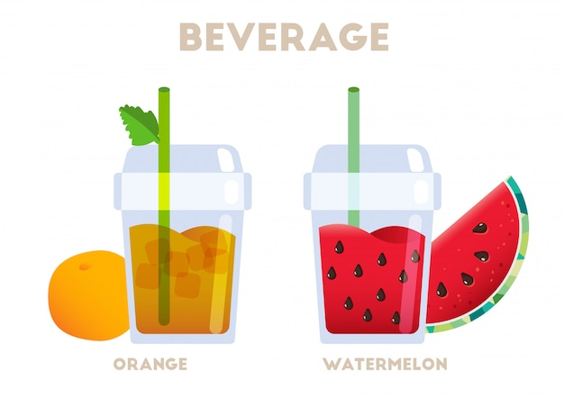 Beverage orange and watermelon juicy vector Premium Vector