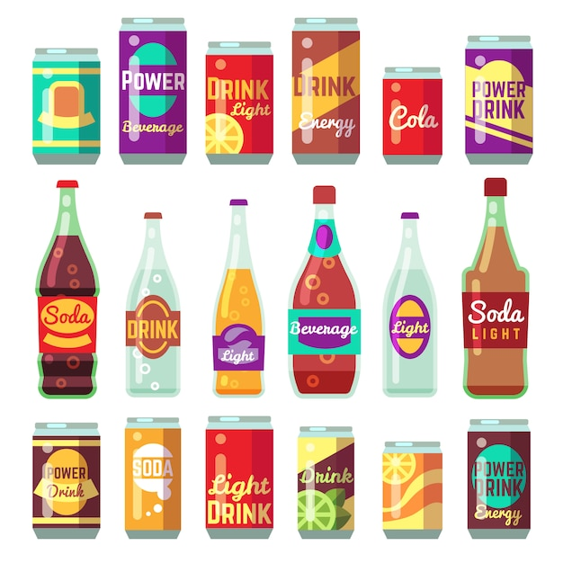 Beverage soft and energy drinks vector flat icons. Premium Vector