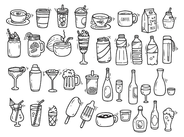 Напитки каракули набор на белом фоне Premium векторы