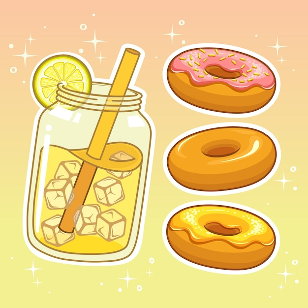 Напитки со сладостями. коллекция рисованной набор. Premium векторы