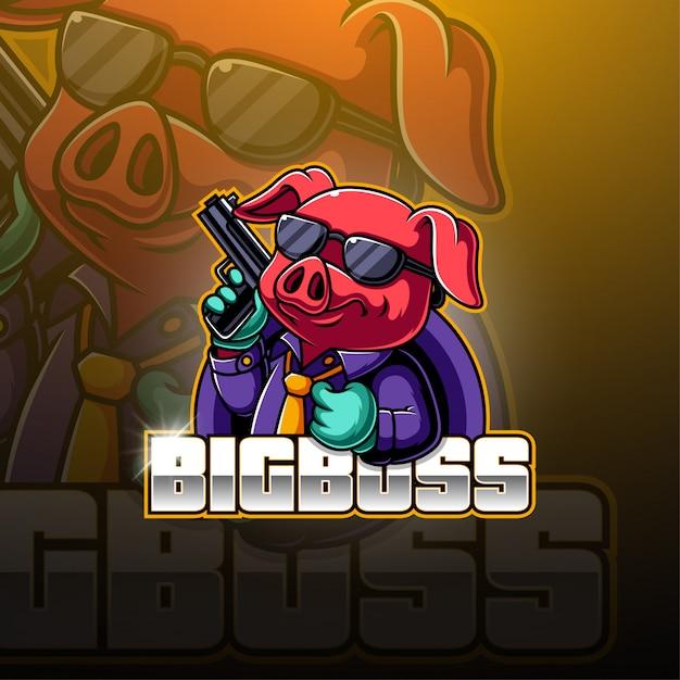 Bg boss esport mascot logo Premiumベクター