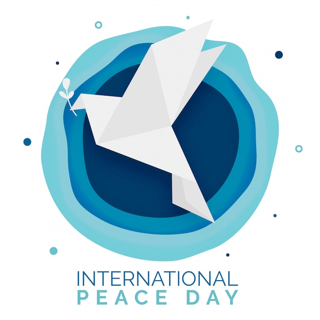 Оригами голубь с листа символом мира с абстрактным слоем bg Premium векторы